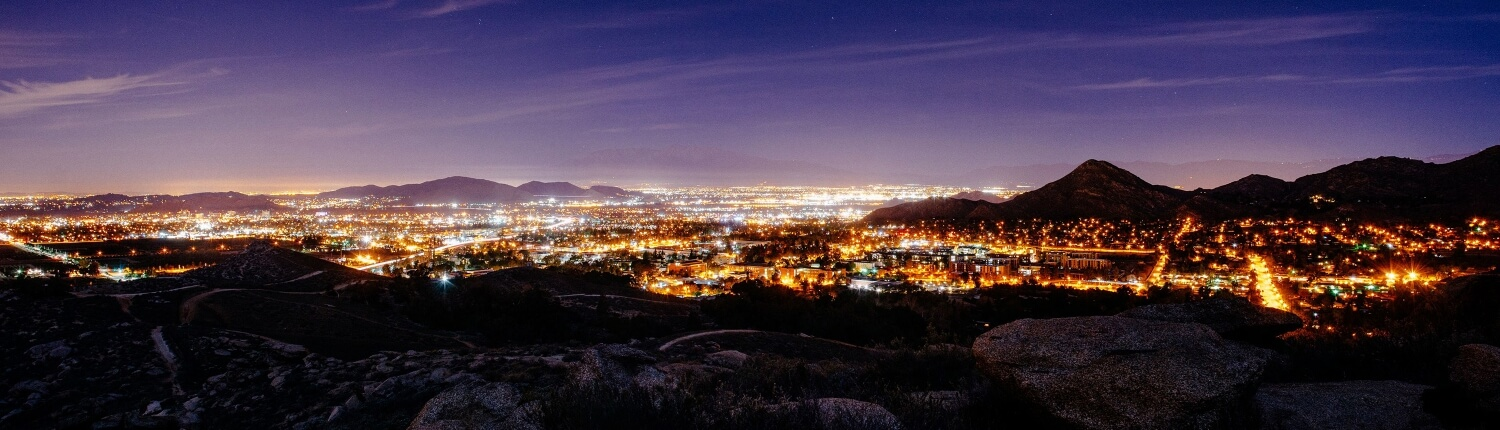 image of the inland empire at night